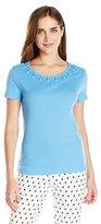 Rafaella Women's Missy Short Sleeve Scoop Neck Top with Metal