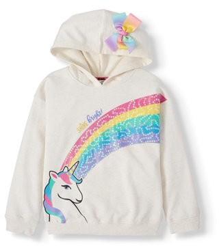 Nickelodeon JoJo Siwa Unicorn Sequin Rainbow Hoodie with 3D Bow (Little Girls & Big Girls)