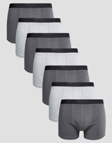 Asos Trunks In Gray Marl 7 Pack SAVE