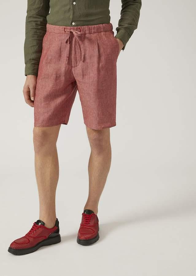 Emporio Armani Bermuda Shorts In Chambray Linen