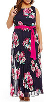 Jessica Howard Plus Floral Pleated Maxi Dress