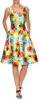 Oscar de la Renta Silk Floral Print A-Line Dress
