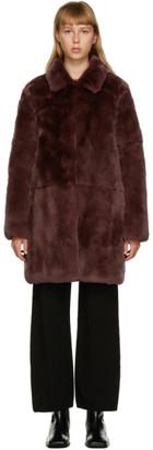 Yves Salomon Meteo Burgundy Fur Coat