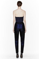 Stella McCartney Navy Silk mix stripes jumpsuit