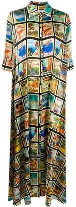 Ultràchic Postcard Print Shirt Dress