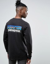 Patagonia Long Sleeve Top P-6 Back Logo Regular Fit In Black