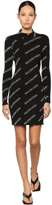 Balenciaga LOGO PRINTED KNIT RIB MINI DRESS