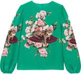 Dolce & Gabbana Printed Silk Crepe De Chine Top - Turquoise