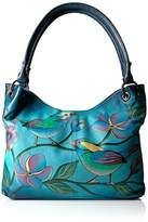 Anuschka Anna Handpainted Leather Large Magnetic Satchel,Lonesome Bird Denim