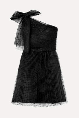 RED Valentino One-shoulder Pleated Point D'esprit Tulle Mini Dress - Black