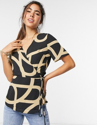 Just Female Leyla patterned top in black