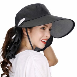Fancet Womens Ponytail Wide Brim Sun Protection Packable Hat Chin Strap Safari UPF Hiking Black 55-58cm