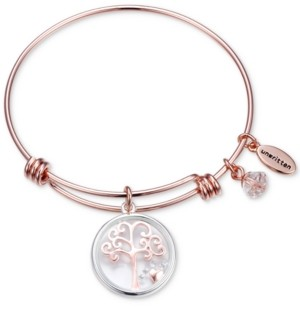 Unwritten Family Tree Glass Shaker Charm Adjustable Bangle Bracelet in Rose Gold-Tone Stainless Steel