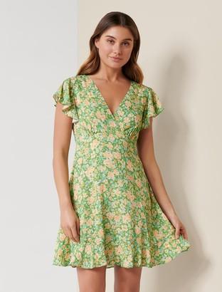 Forever New Shelby Flutter-Sleeve Skater Dress - Peach Garden Blossom - 10