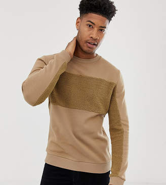 Asos Design DESIGN Tall sweatshirt with borg panels-Brown