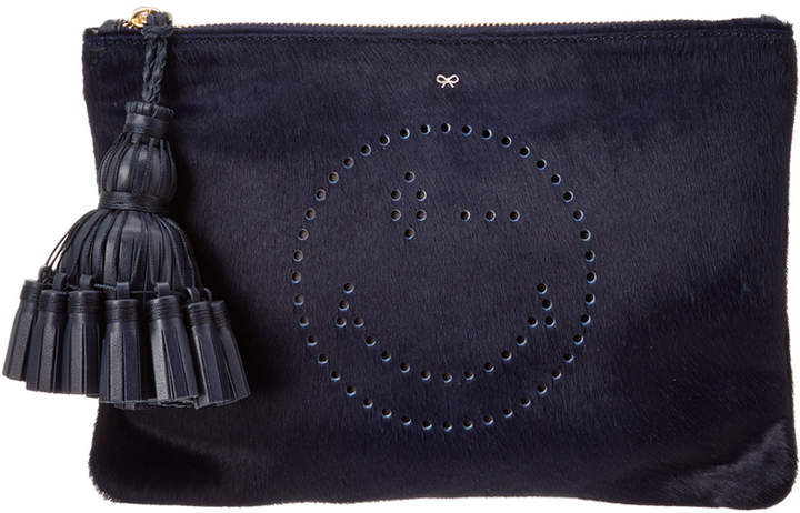 Anya Hindmarch Wink Georgiana Haircalf & Leather Clutch