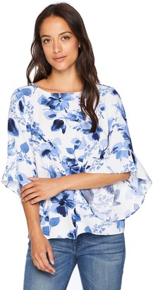 Kasper Women's Petite Floral Printed Blouse with Ruffle Sleeve Detail