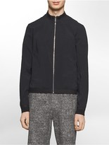 Calvin Klein Platinum Slim Fit Mesh Trim Zip-Front Nylon Bomber Jacket