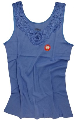 Van Cleef & Arpels Women's/Ladies Sleeveless Shirt -Vest- Undershirt Underwear with Extra Large Lace 100% Cotton (24/26