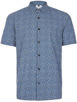 Topman Blue Bubble Print Short Sleeve Casual Shirt