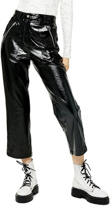 Topshop Lily Straight Leg Faux Leather Trousers