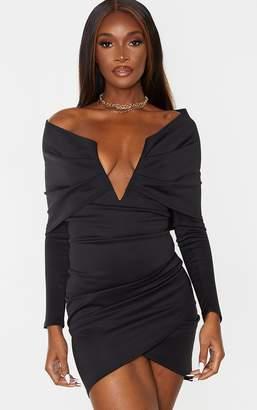 PrettyLittleThing White Bardot V Bar Detail Wrap Shoulder Bodycon Dress