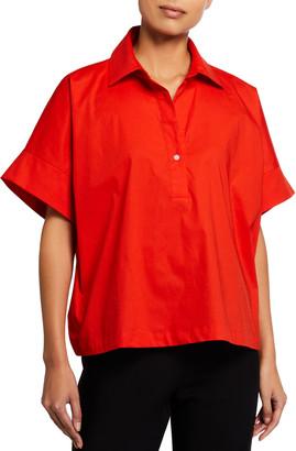 Natori Plus Size Cotton Poplin Short-Sleeve Shirt
