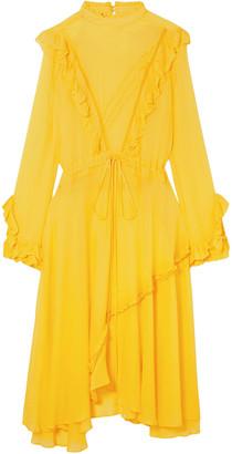 Preen Line Asymmetric Ruffled Crepe Midi Dress