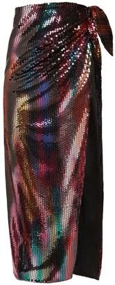 ATTICO High Waist Sequin Midi Skirt W/ Slit