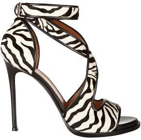 Givenchy Nilenia Leather-Trimmed Zebra-Print Calf Hair Sandals