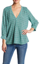 Joie V-Neck 3/4 Length Sleeve Print Silk Blouse
