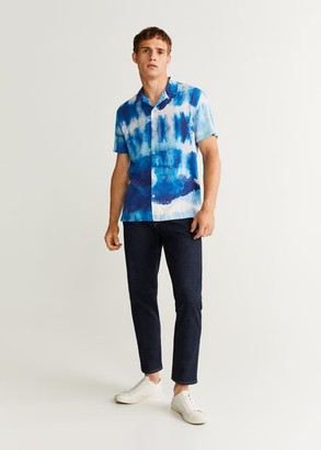 MANGO MAN - Tie-dye print shirt dark navy - S - Men