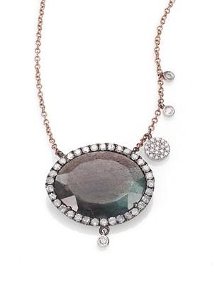 Meira T Labradorite, Diamond & 14K Rose Gold Pendant Necklace