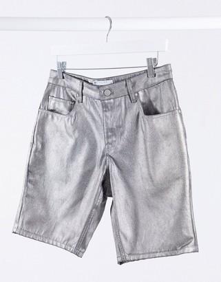 ASOS DESIGN slim denim shorts in silver