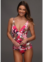 Tommy Bahama Meridian V-Neck Shirred OTS Cup One Piece (Pink Martini Multi) - Apparel