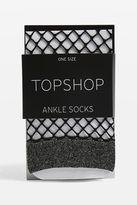 Glitter welt fishnet ankle socks