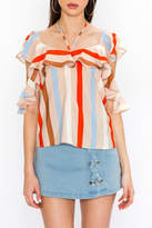 Flying Tomato Stripe Ruffle Top