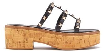 Valentino Rockstud Cork Platform Sandals - Womens - Black