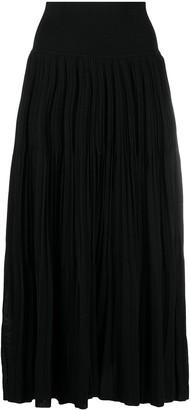 Sminfinity Pleated Cotton-Silk Skirt