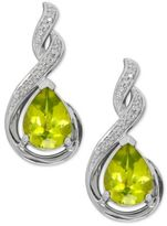 Macy's Peridot (2-1/2 ct. t.w.) and Diamond Accent Drop Earrings in Sterling Silver