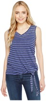 Allen Allen Stripe Side Tie V-Neck Tank Top Women's Sleeveless