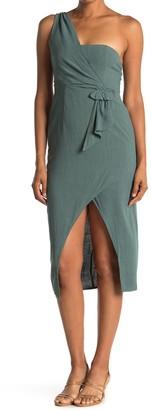 FAVLUX One-Shoulder Faux Wrap Dress