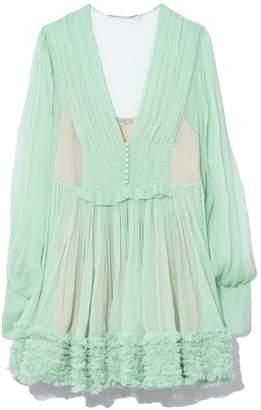 Stella McCartney Washed Crinkle Chiffon Dress in Green