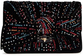 Valentino Embellished Velvet Pouch