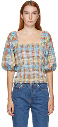 Ganni Multicolor Seersucker Check Blouse