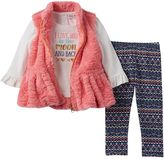 Little Lass Baby Girl Graphic Tee, Faux-Fur Vest & Printed Leggings Set