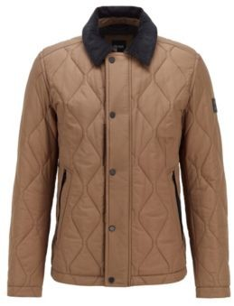 HUGO BOSS Diamond Quilted Jacket With Water Repellent Outer - Khaki