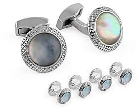 Tateossian Men's Quartz Doublet Round White Mother-Of-Pearl Cufflinks and Shirt Studs Set