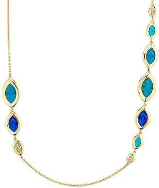 Andy Lif 18kt yellow gold Graduated Cat's Eye enamel and diamond necklace