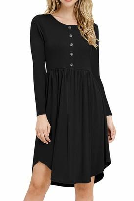 YOINS Women Long Sleeve Mini Dresses Button Midi Dresses Sleeveless Slim Fit Vintage Long Tshirt Casual Dresses Black XXL